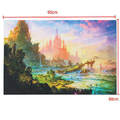 36x24 inch Psychedelic Trippy Art Silk Fabric Cloth Castle Poster Wall Decor HOT