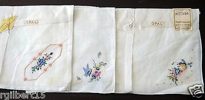 3 Vintage Hankies Petit Point Embroidered Flowers White Cotton Lot