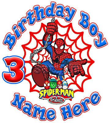 Spiderman and Friends Super Hero Movie Personalized Birthday T shirt Gift