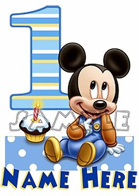 Baby Mickey Mouse 1st First Birthday Personalized T shirt Gift add name