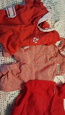 Vintage Cabbage Doll Clothes Red Color 3 Pieces