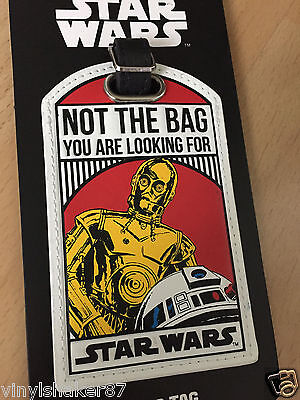 """Star Wars """"NOT THE BAG YOU ARE LOOKING FOR"""" bag tag C3PO R2D2 Anhänger"""