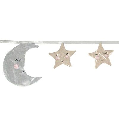 Moon Stars Fabric Bunting Garland Nursery Decor Childrens Kids Childs Bedroom
