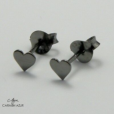 Solid 925 Sterling Silver Stud Earrings Small Black Heart New with Gift Bag