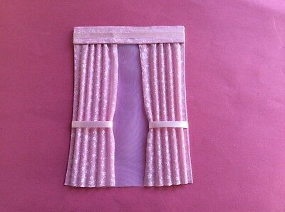 "1 Pink and white patterned house curtains  5""X 6.75"""