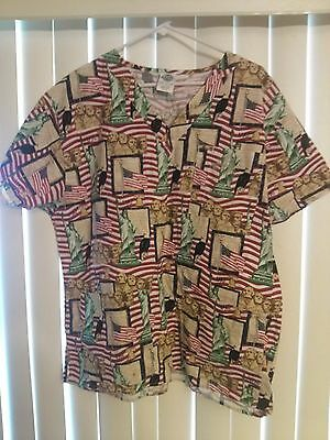 Nursing Scrubs Top Scrub Medium We The People Statue of Liberty  comfy cottons