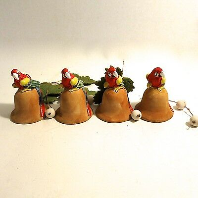 """4 Lot Parrot Ceramic Clay Scarlet MaCaws 2.75"""" Statues Figures Hanging Birds"""