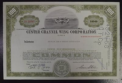 Certificate of Common Stock for Custer Channel Wing Corporation