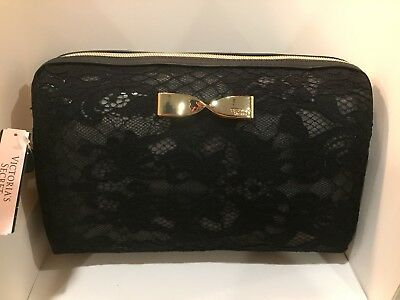 NEW Victoria's Secret Cosmetic travel Bag Case Black Lace Gold Bow