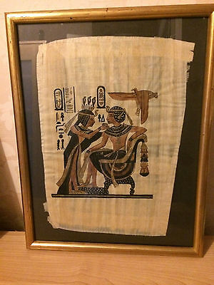 Striking Framed Egyptian Style Painting on Papyrus