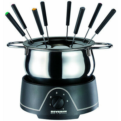 Electric Chocolate Cheese Fondue Set of 8 Stainless Steel Family Friends Fun NEW