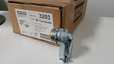 "box of 25 Raco 3203 3/4"" 90 Degree Insulated throat Connectors armored cable"