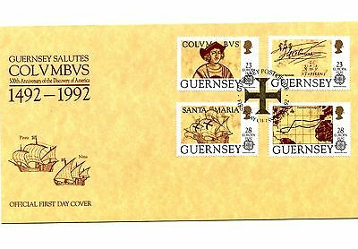 Guernsey First Day Unaddressed Cover Discovery of America 1992