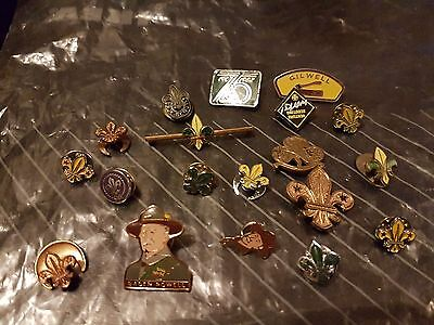 Antique Vintage Job Lot Scouts Metal Badges and Brooches + 1 Guide