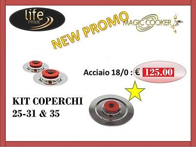 Magic Cooker . 3 Coperchi Diametro 25-31-35  In 18/0 . + Simpatico Omaggio !