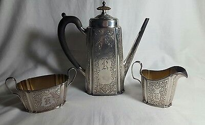 "Sterling Silver 3 Piece Tea Set, Monogrammed ""K"""