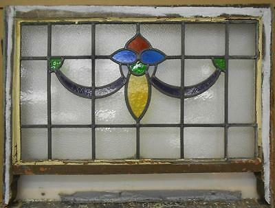"EDWARDIAN ENGLISH LEADED STAINED GLASS SASH WINDOW Floral Swag 30.5"" x 18.75"""