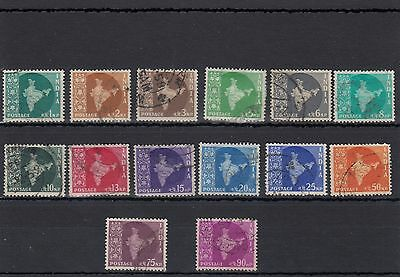 India. 14 -- 1957 Used Stamps On Stockcard