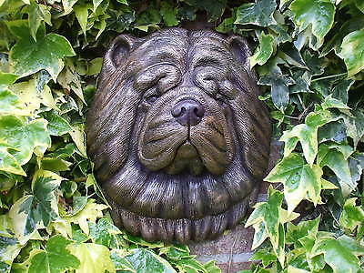 Big Bronzed Stone Chow Chow Dogs  Head Wall Sculpture