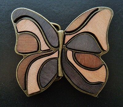 Antique Brass Brown Wood Fill-In Butterfly Plaque Belt Buckles