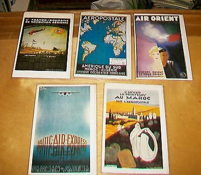 AIR FRANCE POSTERS CARDS. Editions ARNO. Blank cards. New condition (5) 1921-32