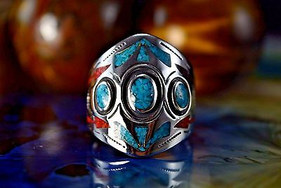 Sterling silver Turquoise & Red Coral inlaid & stamped ring Size 8
