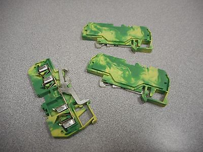 Wago 281-687 Terminal Block 2-Pos 28Awg 12Awg 4Mm Yellow Green Earth (Lot Of 3)