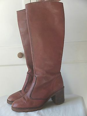 Vintage 70s Knee-High Brown Leather Heeled Boots 5