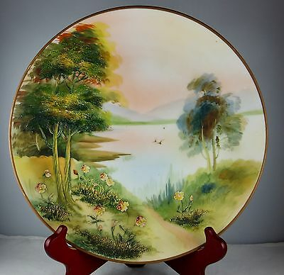 Nippon Scenic Antique Plaque with Applied Detail - Green Mark #47 - Trees, Birds