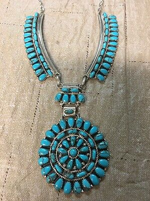 Navajo Native American Turquoise Cluster Necklace Juliana Willia Stunning Wow #2