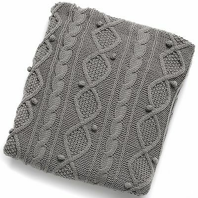 Large Thick Grey Woolen Throw by Hill Interiors. Exceptional Quality 180x130cm