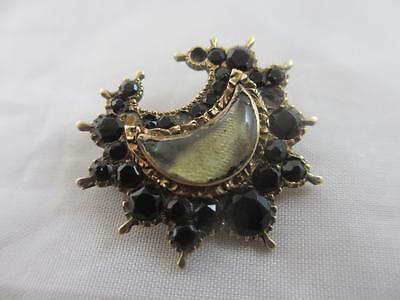 Whitby jet rock crystal 15k gold mourning brooch pin antique georgian tbj01350