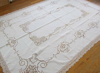 Estate Antique Banquet Point de Venise + Filet Lace Tablecloth 104x71""