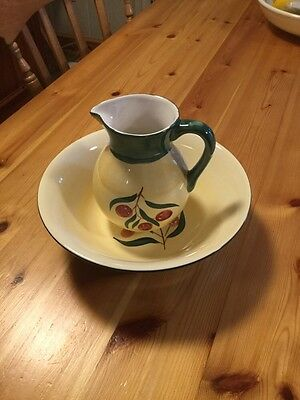 Churchill Pottery Hand Painted Roma Design Jug And Bowl