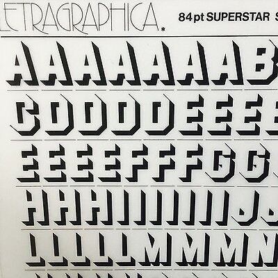 NEW SHEET LETRASET RUB-ON TRANSFER LETTERS 84pt Superstar Shadow
