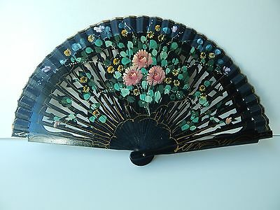 Vintage Fan Hand Painted  Hand Fan With Pink Flowers Floral Detail