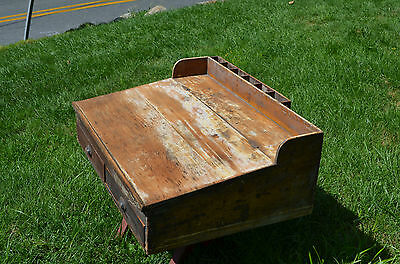 Antique 1800s Country Store Pine Counter Top Desk Dovetailed Pine