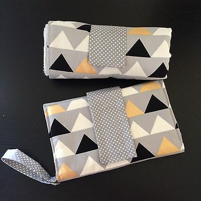 Large Waterproof Change mat and nappy Clutch/ wallet set in Grey, Gold,triangles