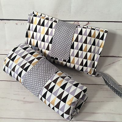 Large Waterproof Change mat and nappy Clutch set in Grey, Gold,sml triangles