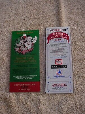 DISNEY WORLD  VINTAGE 1991   CHRISTMAS PARTY  TICKET  and ICE CREAM TICK. -DES