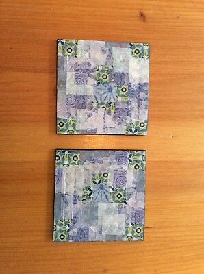 2 decorated decopatch coasters For Drinks in blues, Silver and greys. bohemian.