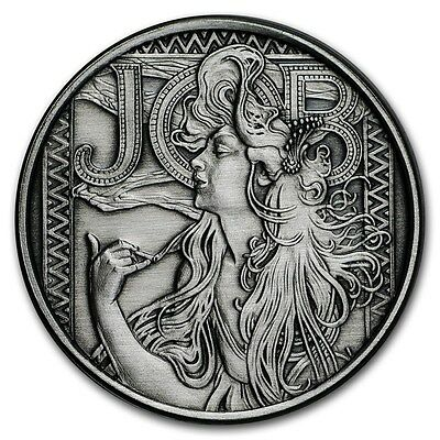 Alphonse Mucha Collection 1 OZ ANTIQUE SILVER JOB #1 IN SERIES #COA Cannabis