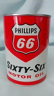 """WOW"" Minty!!!  Full Phillips 66 Motor Oil Can Sixty Six 1 Quart Unique Unopened"