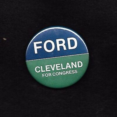 GERALD FORD 1976 campaign coattail  button from New Hampshire CLEVELAND