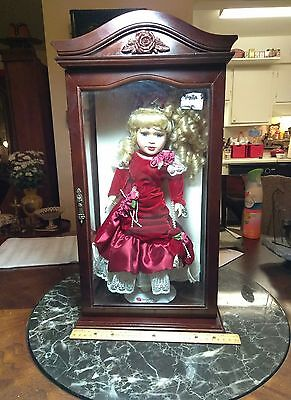 A Very Nice Wood & Glass Doll Display Case With A Porcelain Doll!!