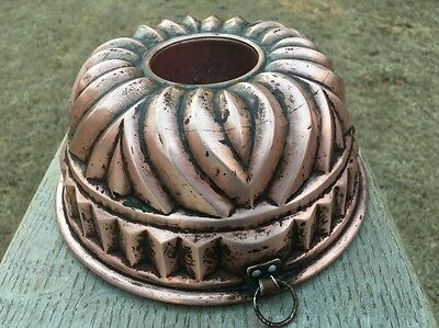 """Antique Large 9.25"""" Bundt Cake Jelly Pudding Copper Mold Mould Tin Lined"""