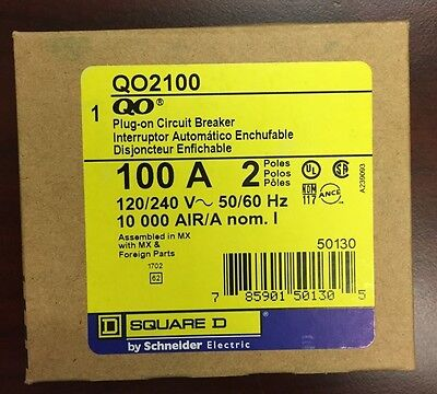 NEW SquareD QO QO2100 2Poles 100Amperage Rating 120/240V Plug-In Circuit Breaker