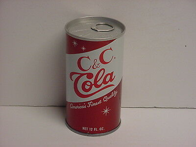 Vintage C&C Cola Straight Steel Pull Tab Soda Can Bottom Opened