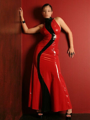 Latex Rubber Gummi Red and Black Unique Skirt Long Dress Size XS~XXL