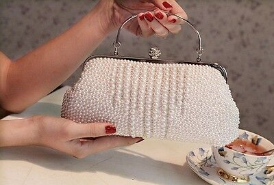 Luxury White Pearls Bride Bag Women Handbags Wedding Evening Party Prom Purses